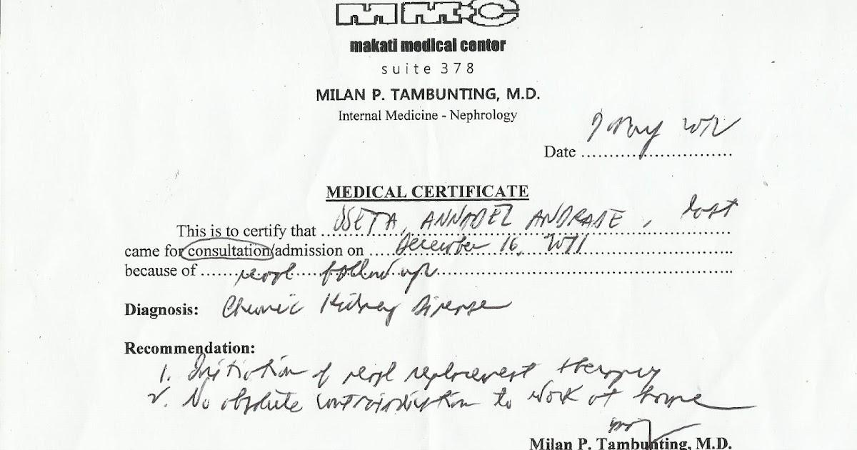 Helping Ann Medical Certificate