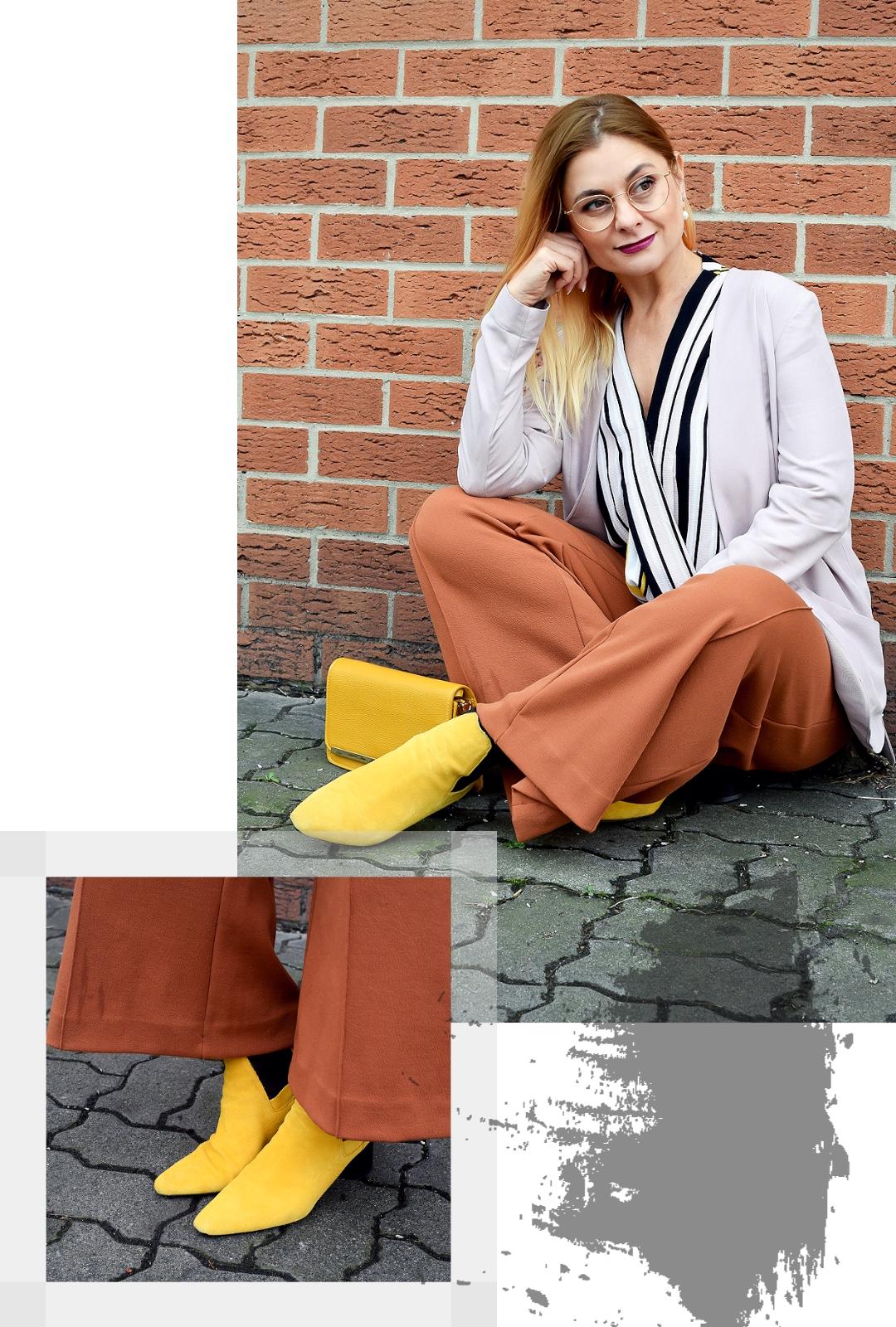 Outfit mit gelben Schuhen, weite Hosen kombinieren