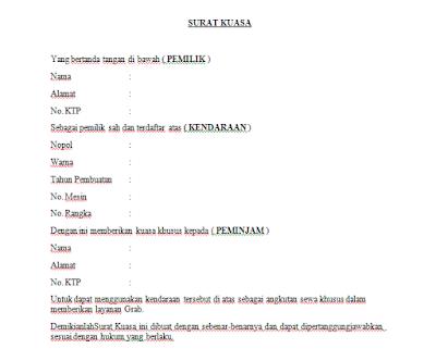 Contoh Format Surat Kuasa GrabCar
