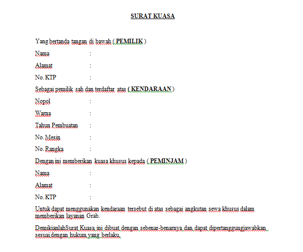 Contoh Format Surat Kuasa Penggunaan Kendaraan Untuk Grab Gojek
