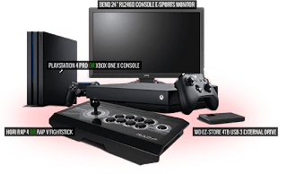 Win #PS4 Pro or Xbox One X, gaming monitor, HDD & fightsticks