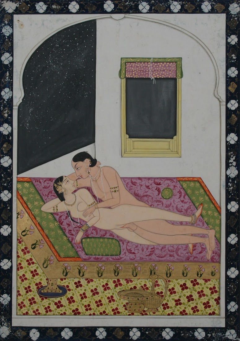 Couple Making Love in Erotic Asana (Sex Position) Kangra, c1830-40