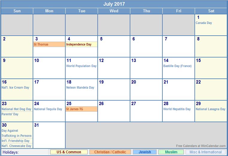 2017 Calendar with Holidays [US, UK, Canada, Australia]