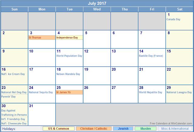July 2017 Holiday Calendar, 2017 Calendar Holidays, 2017 Calendar Holidays Print, 2017 Calendar Holidays Printable, 2017 Calendar Holidays Template, 2017 Calendar with Holidays, 2017 Calendar with Holidays Printable
