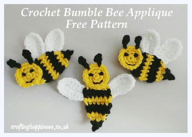 Crochet Bumble Bee Applique Free Pattern Crafting Happiness