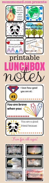Mom2MomEd Blog: Printable lunchbox notes!