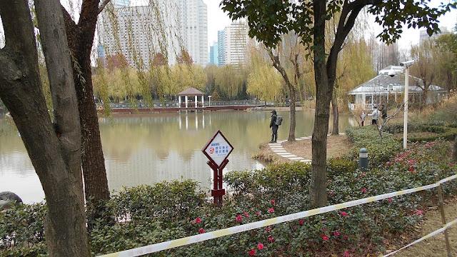 公園で釣りをする人