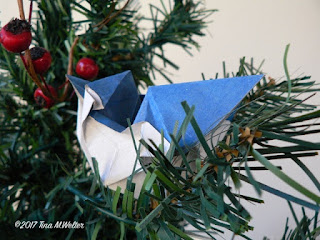 Blue jay in the pine tree, photo and origami ©2018 Tina M.Welter