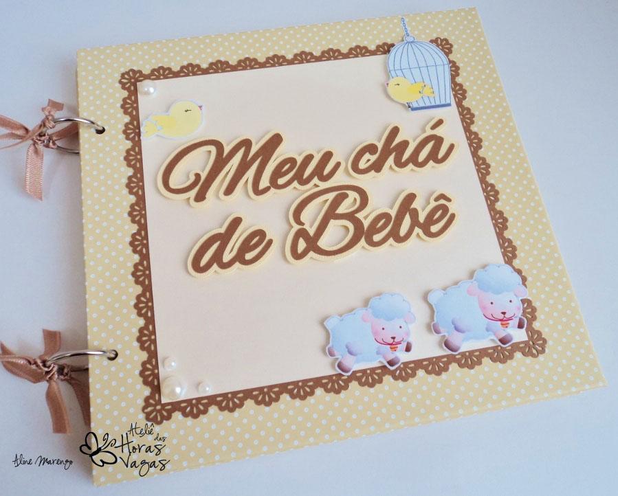 livro de mensagens chá de bebê bege marrom carneirinhos