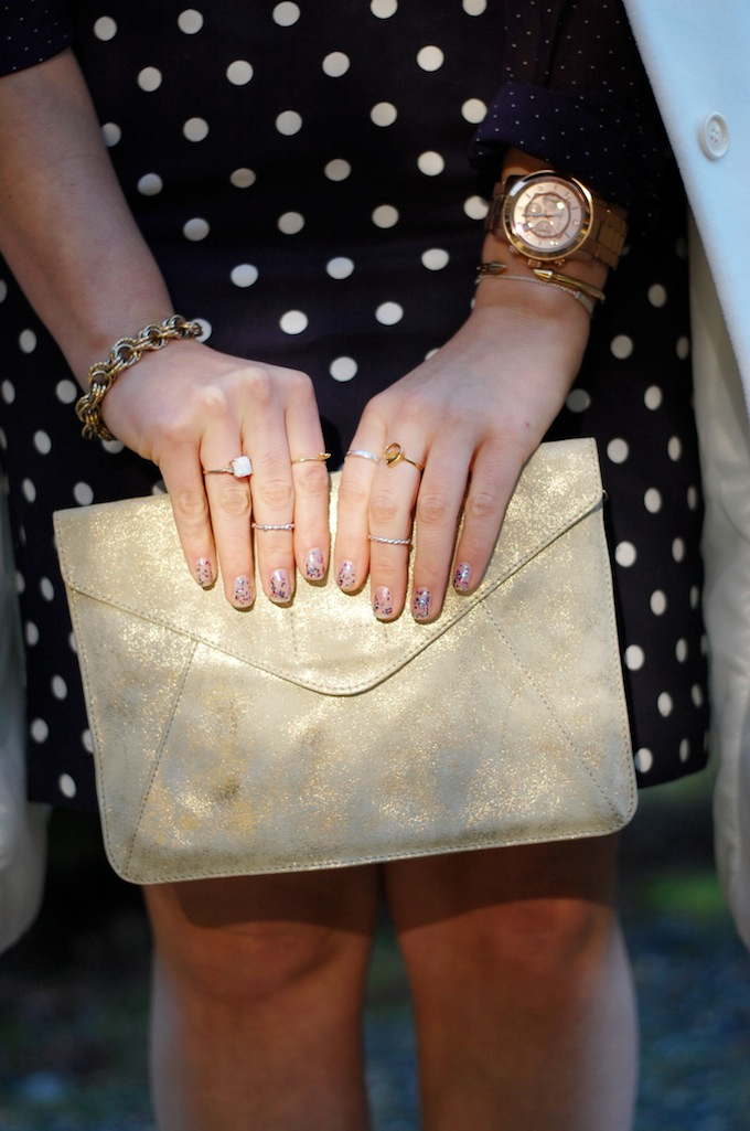 Gold clutch Polka dot pattern mixing Vancouver fashion blog Covet and Acquire
