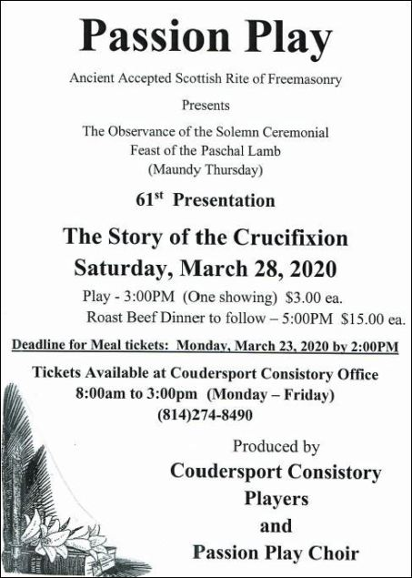 3-28 Passion Play, Coudersport, PA