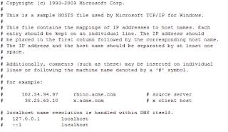 Windows 10 - File HOSTS standard