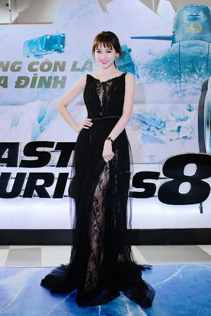 Hari Won bất ngờ mặc xuyên thấu trong lễ ra mắt phim Fast & Furious 8