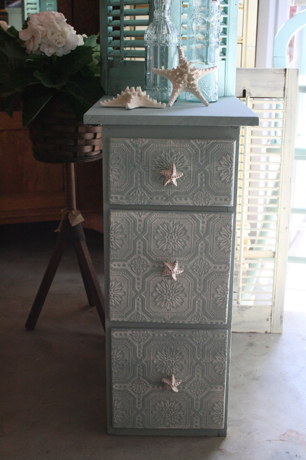 Reloved Rubbish Beachy Night Stand With Wall Papered Drawers