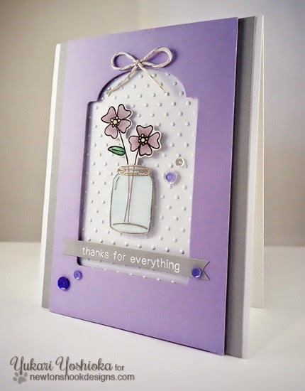 Thanksfor Everything Flower card by Yukari Yoshioka | Stamps by Newton's Nook Designs