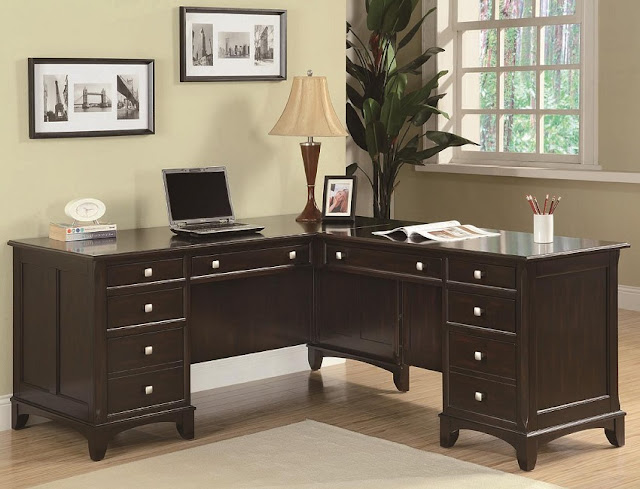 best dark wood home office desk with file drawer for sale