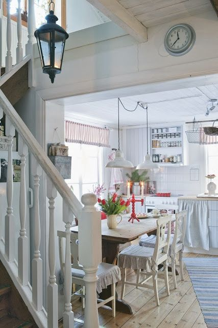 Swedish Farmhouse Christmas Decorating Interior Design white kitchen