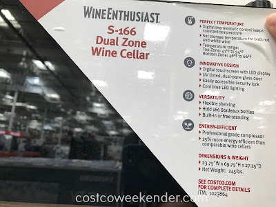 Costco 1009321 - Wine Enthusiast S-166 Dual-Zone Wine Cellar: great for any wine lover