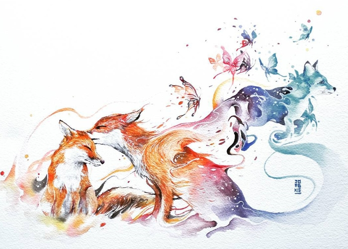 07-Foxes-Jongkie-art-Luqman-Reza-Mulyono-Vibrant-Fantasy-Watercolor-Animal-Paintings-www-designstack-co