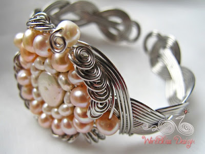braided wire wrapped cuff with pearls