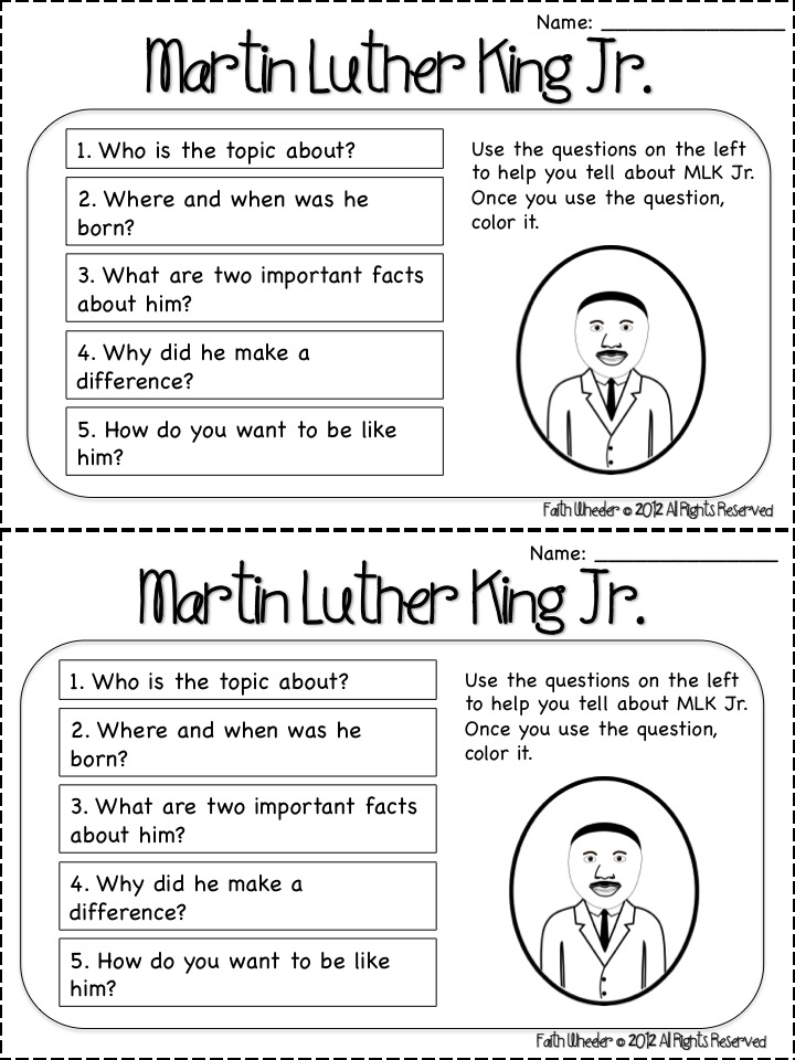 Martin Luther King Worksheets For 4th Graders i have a dream – Martin Luther King Math Worksheets