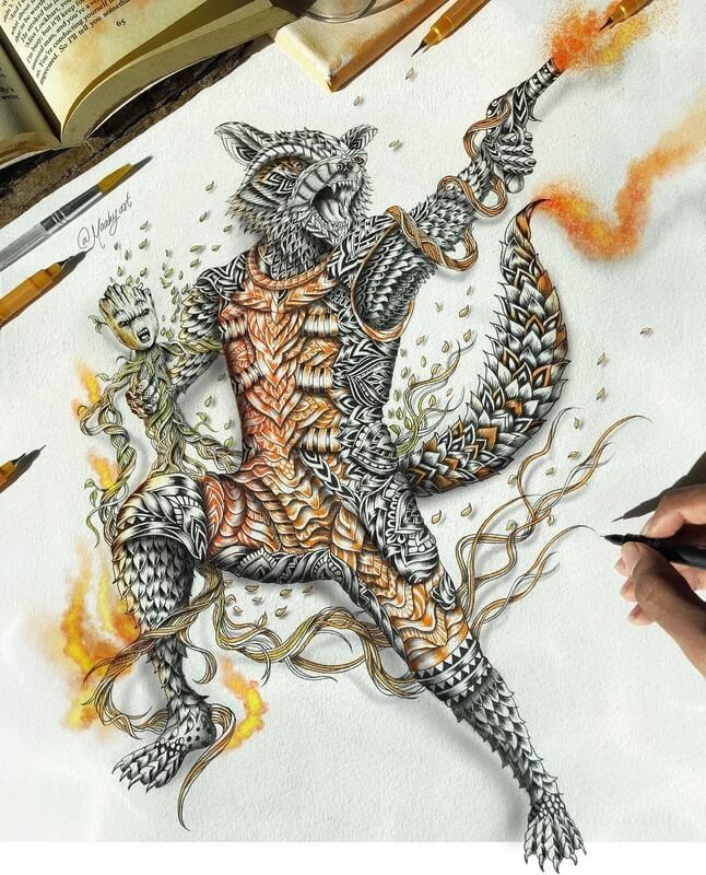 06-Groot-and-Rocket-Maahyart-Animal-Drawings-Steeped-in-Zentangle-www-designstack-co