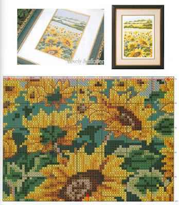 quadri a tema fiori-disegni per ricamare a punto croce-lovely sounflower,popper, tulips