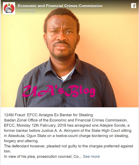 See The Face Of A Banker Arraigned By EFCC Over A Multi-million Naira Fraud (Photos)