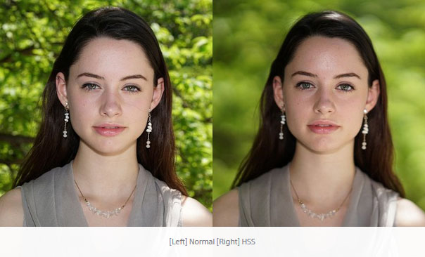 Two comparison images of a model posing for a portrait, the one on the left is taken with small aperture and correctly exposed, the one on the right is taken with a small aperture and high speed sync flash