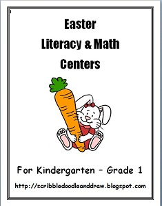 Printable Easter literacy and math centers for kindergarten