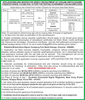Applications are invited for Civilian Switch Board Operator CSBO Grade II vacancy Post in Central Government Civilian Employee Service