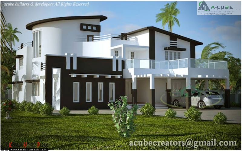 Modern independent villa design and elevation kerala for Independent house model pictures