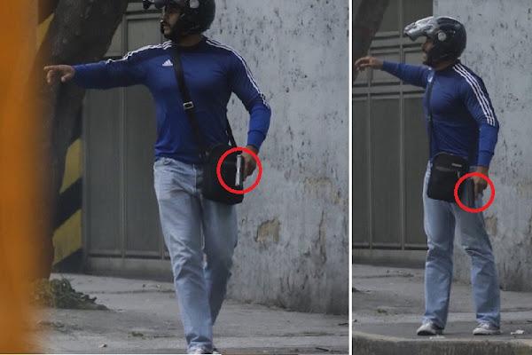 Fotos de agente cubano disparando en marcha de Altamira