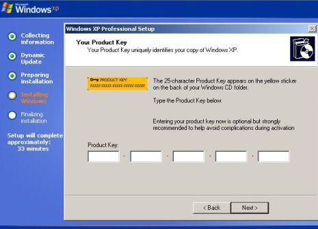 change windows activation key xp