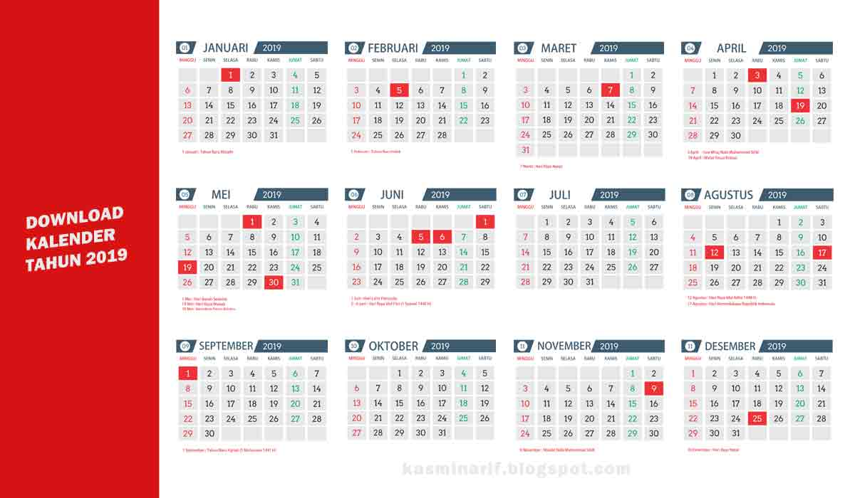 Download Gratis Template kalender 2019 - Asal Tau