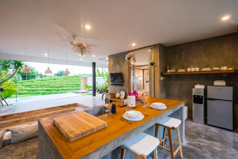 villa with terasering paddy fields view in bali