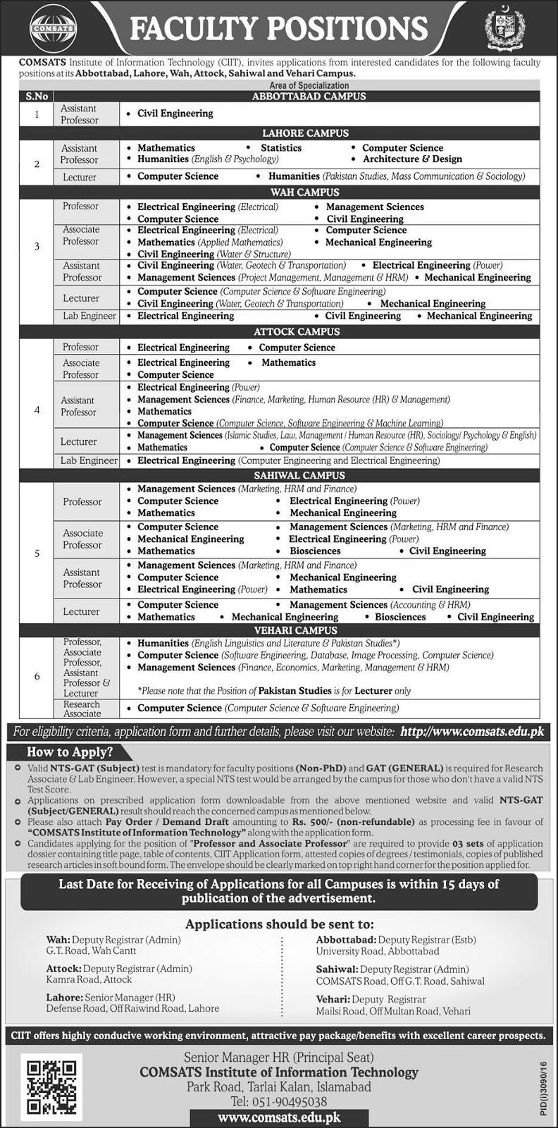Jobs in COMSATS Institute Jobs in Pakistan