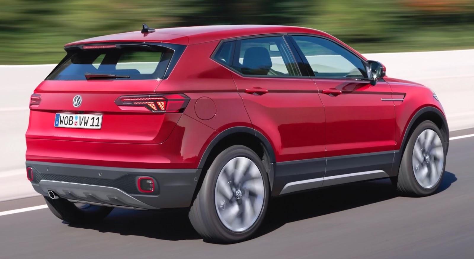 foto volkswagen t-cross posteriore auto di colore rosso