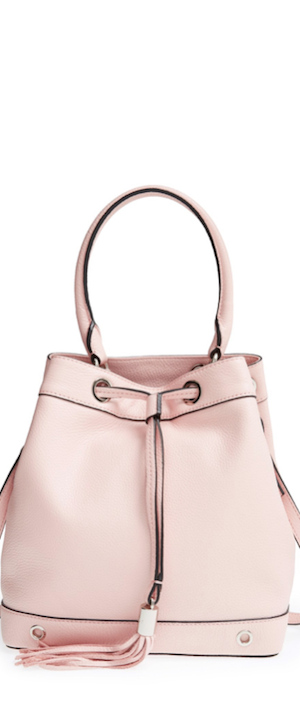 Milly 'Astor' Pebbled Leather Bucket Bag in Blush