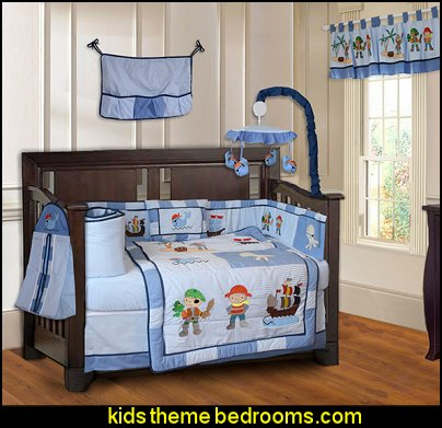 Pirates 10-piece Boys' Baby Crib Bedding  pirate bedrooms - pirate themed furniture - nautical theme decorating ideas - pirate theme bedroom decor - Peter Pan - Jake and the Never Land Pirates - pirate ship beds - boat beds - pirate bedroom decorating ideas - pirate costumes