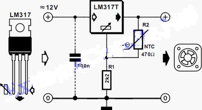 Controller fan speeds using LM317 Circuit Diagram