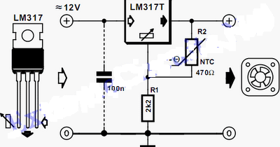 Controller fan speeds using LM317 Wiring diagram Schematic