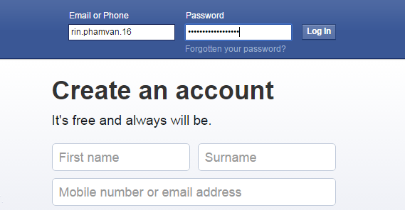 login facebook account