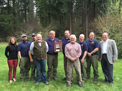 Left to right: Hilary Franz, Washington State Commissioner of Public Lands; Matt Caldwell; Terry Jewell; Kevin Dohnam, previous LBE recipient; Sean Kibbe; Don Melton, SPS Fire District Manager; Bryan Scholz, past LBE recipient; Charley Burns; Brian Looper; Mark Stanford, NWCG Leadership Subcommittee