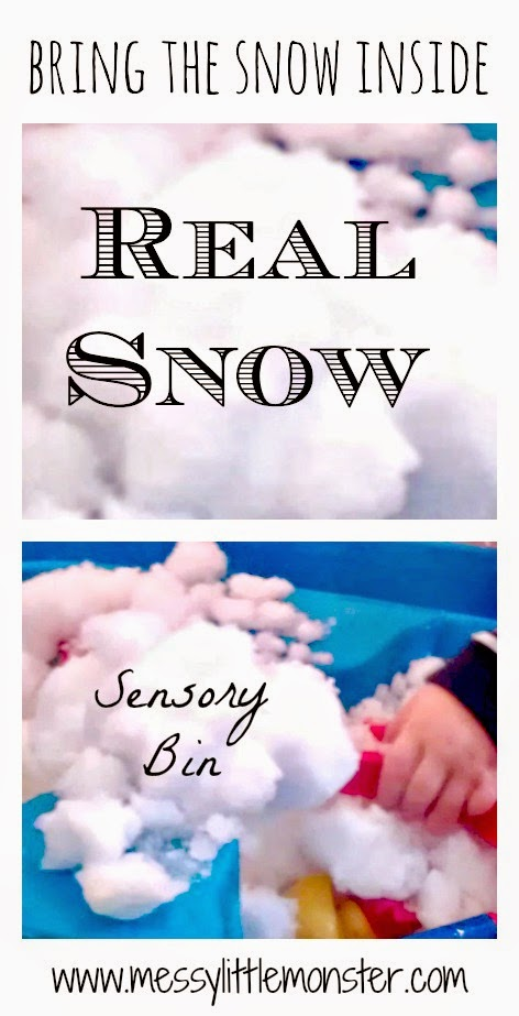 Real snow sensory bin idea for toddlers.