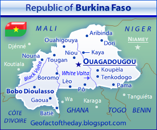 General reference map of Burkina Faso depicting cities, neighboring countries, and major rivers