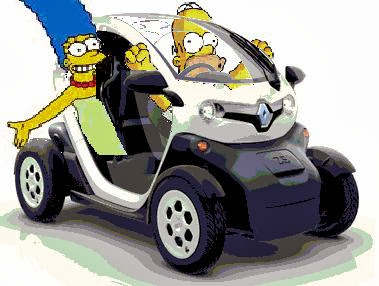 Marge et Homer Simpson aiment ma Twizy aussi !