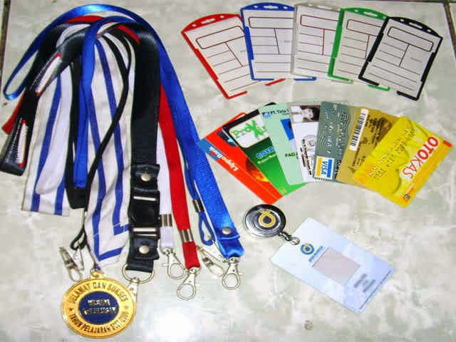 Tali Id polos/ sablon, Tali Name Tag/ Lanyard Pro, Jepitan Garis/ Plastik, id Card/ card Member magnetic kosong, tali HP/ USB, Yoyo+ Logo Id