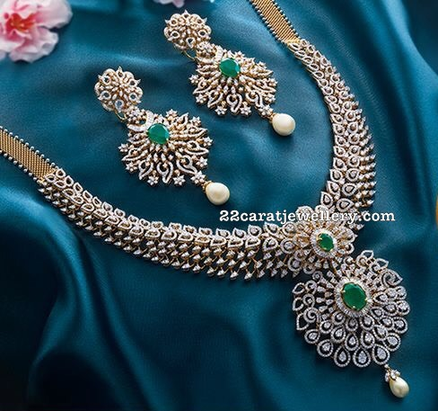 Diamond Emerald Set with Heavy Earrings