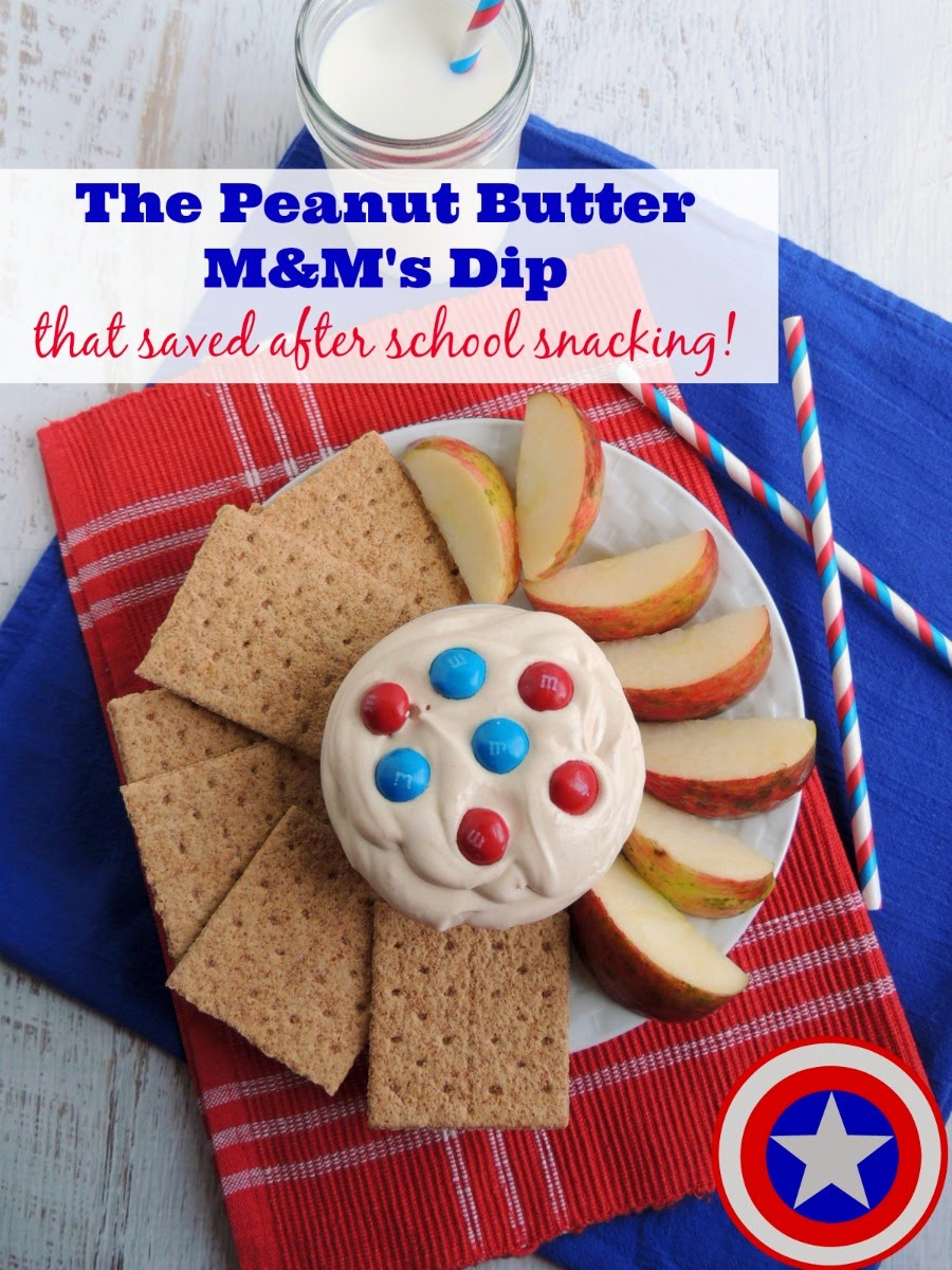 This creamy Peanut Butter M&M's Dip has just 4 simple ingredients in it making it the perfect easy & quick after school snack.